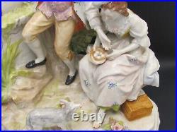 Large 13 Tall Antique Hand Painted Porcelain Sitzendorf Dresden Group Figurine
