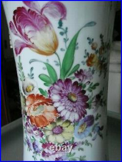 Large 15.5 Inch Tall Dresden Vase Hand Painted Flowers