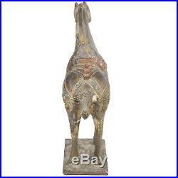 Large 42 Tall Chinese Carved Wood & Plaster Tang Horse, Gilded & Polychrome