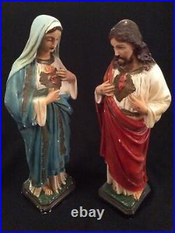 Large Antique Jesus & Mary Plaster Figures 40cm Tall Hand Painted