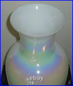 Large Cambridge Hand Blown Iridescent Opalescent Glass Vase 15 3/8 inches Tall