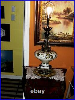Large French Louis XVI Floral Hand Painted Glass Marble Bronze Tall Lamp Base VT