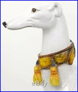 Large Italian Faience Hand-Painted Greyhound Sculpture, 27 Tall, Rare