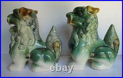 Large Pair Vintage Chinese Blue Green Foo Dogs 9.25 tall