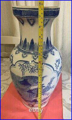 Large Vintage Blue and White Vase Handmade Hand Painted Rare 18 inches Tall