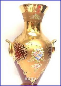 Large Vintage Murano Art Glass 24K Gold Gilded Ruby Red Tall Vase Venetian 17