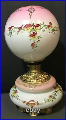 Large Wide Antique GWTW Hand Painted Milk Glass Oil LampFloral19.5tallElect