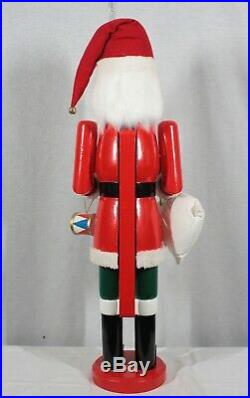 Large Wooden Santa Claus With Gifts Hand Painted 34 Tall Nutcracker New