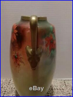 Limoge Austria Poinsettia Hand Painted Signed 16 Tall Vase