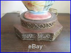 Limoges France Handpainted Porcelain Tall Vase As Lamp Pink Roses Gold