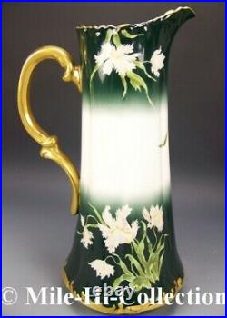 Limoges Hand Painted Parrot Tulips 15.5 Tall Tankard Pitcher
