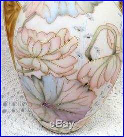 Limoges Satin Finish Hand Painted Artist Signed Tall Dual Handled Vase
