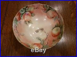 Limoges handpainted peach fruit gold trim 10 wide 4.5 tall punch bowl set
