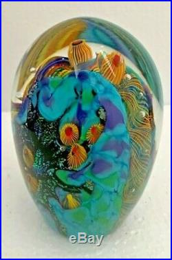 Lindsay Art Glass Signed Blown Glass Dome Beach Club Paperweight 4.25 inch tall