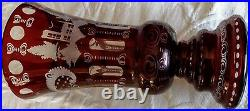 Lobmyer 1920's Antique Ruby Red Cut Etched Glass Vase Large Heavy 11-3/4 Tall