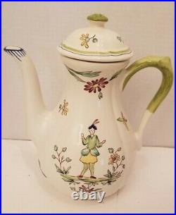 Longchamp Moustiers TEAPOT with LID France Hand Painted 9 1/2 tall