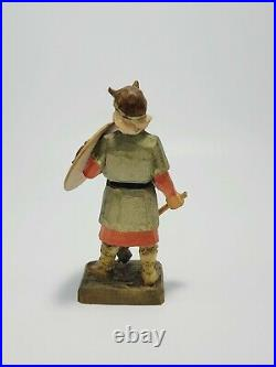 Lot of 2 Henning Norway Wooden Vikings Figurine Carved by Hand 6 in Tall