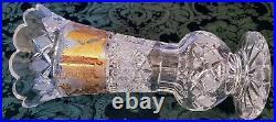 MOSER Crystal Gold Gilded Engraved, Etched & Elegant 60's Era Tall Vase