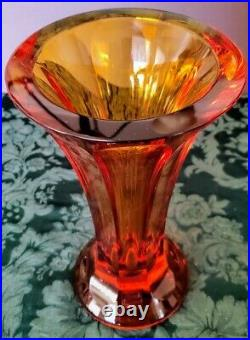 MOSER Early 1900's Amber Crystal Tall Heavy Perfect 8 Paneled Vase, 9 pounds of