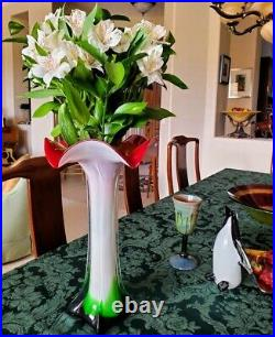 MURANO 50's Magnificent Tall Gorgeous Calla Lily Flared Rim Flawless Fine Vase