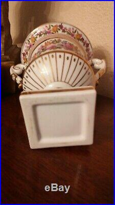 Meissen Tall Urn Vase With Lid Handles Gold Trim Hand Painted Floral Potpourri