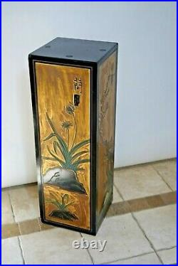 Mid Century Tall Plant Stand Carved relief hand painted Square top Japanese styl