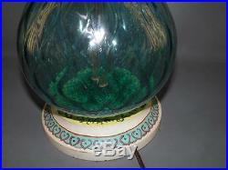 Mid-century Venetian Art Glass Blue Tall Table Lamp Hand Painted Wood Base