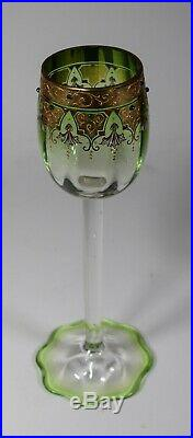 Moser Tall Wine Glass, Hand Painted with Jewels