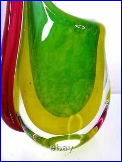 Murano Sommerso Art Glass Vase Mid Century Modern Hand Blown 5.7 pounds 12 tall