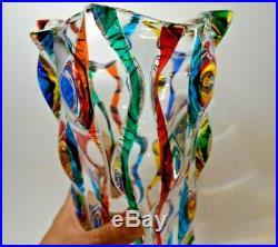 Murano Vase Multi Color ZECCHIN Style 12 Inch Tall