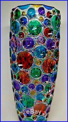 Murano Vase Multi Color ZECCHIN Style 14 Inch Tall
