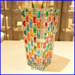 Murano check pattern Multi Color ZECCHIN Style vase 8 Inch Tall