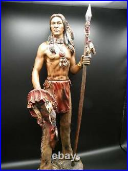 Native American Indian Brave with Spear Hand-Painted Resin Statue 23 Tall New