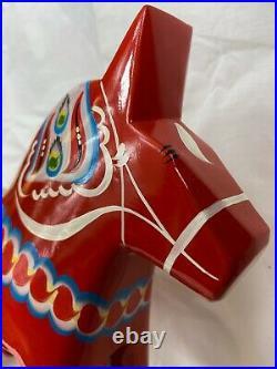 New Grannas A. Olsons Swedish hand painted wood Dala Horse 25cm, 9.8tall