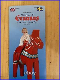 New Grannas A. Olsons Swedish hand painted wood Dala Horse 34 cm, 13.4 Tall