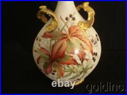Nice Victorian Limoges Hand Painted Tall Floral Vase Gold Handles