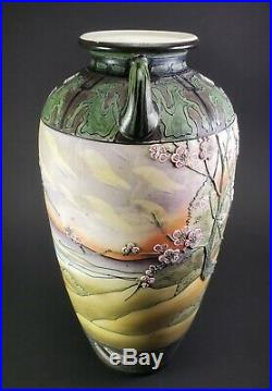 Nippon Hand Painted Large 12 1/2 Tall Scenic Porcelain Vase