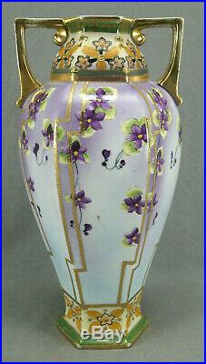Nippon Hand Painted Purple Clematis Flowers & Gold Beaded 12 1/8 Inch Tall Vase