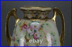 Nippon Hand Painted Storks Birds Pink Blossoms & Beaded Gold 12 Inch Tall Vase