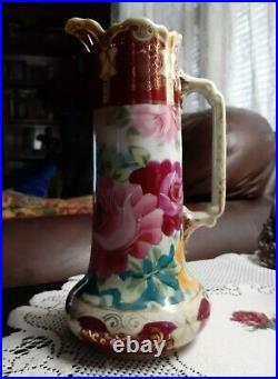 Nippon Pitcher Ewer Hand Painted Roses 9 1/4Tall, Victorian Antique Porcelain
