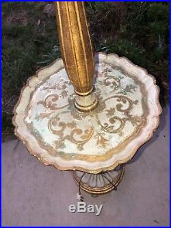 OLD ITALIAN HAND PAINTED FLORENTINE GUILT WOOD FLOOR LAMP With TABLE- 51 TALL