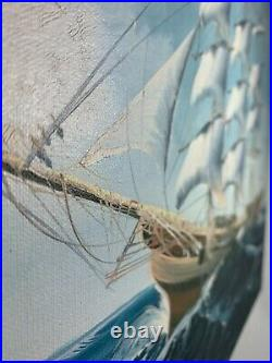 Oil painting K Markell Tall schooner Ship Hand Painted Original Sail waves Ocean