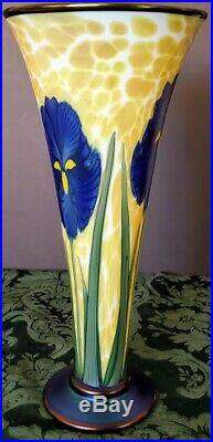Orient & Flume Unique Mosaic Gold on White w-Blue Iris's Green Leaves Tall Older