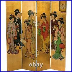 Oriental Furniture 6 Ft Tall Golden Geisha Screen Hand Painted, Gold lead 4 panl