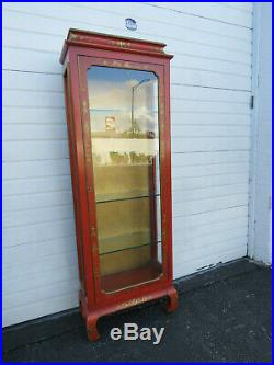 Oriental Tall Narrow Hand Painted Distressed China Display Cabinet Bookcase 9530