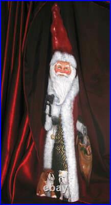Original Hand Painted Christmas19-1/2 tall Old Time Santa Cypress Knee / Ann