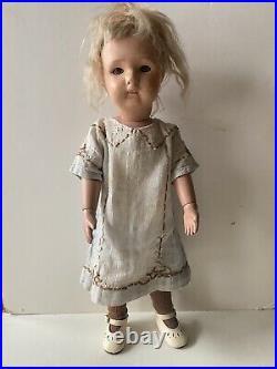Original Schoenhut Wooden Hand Painted Little Girl Doll, 1911. 17 Tall