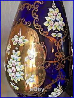 Over 3 feet tall, Bohemian vintage cobalt blue glass vase with gold plating