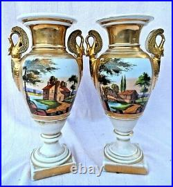 PAIR OF ANTIQUE FRENCH EMPIRE HAND PAINTED PORCELAIN VASES 11 TALL mid 19c VGC