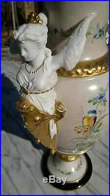 Pair 19thC Antique French Empire Vases Angel Handles Handpainted 13.75 tall